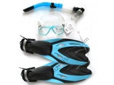 Amphibian Pro Palet + Maske + Şnorkel Seti / Mavi