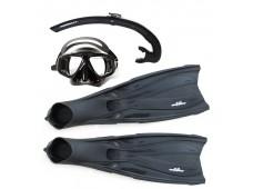 Amphibian Pro Hunter Palet + Maske + Şnorkel Seti / Siyah