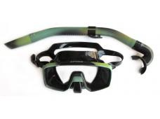 Apnea Hunter Kamuflajlı Maske Şnorkel Seti / Tek Cam